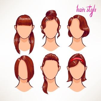 Conjunto com diferentes estilos de cabelo. morena. ilustração desenhada à mão - 2