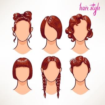 Conjunto com diferentes estilos de cabelo. morena. ilustração desenhada à mão