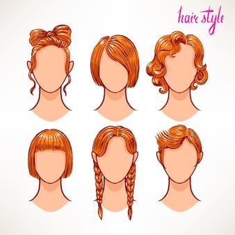 Conjunto com diferentes estilos de cabelo. ruiva. ilustração desenhada à mão