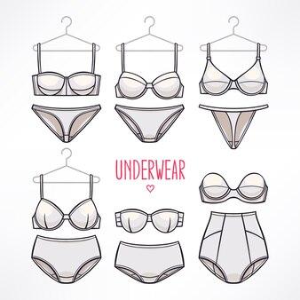 Conjunto com diferentes estilos de lingerie. calcinhas e sutiãs.