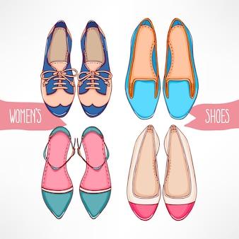 Conjunto com diferentes sapatos desenhados à mão em um fundo branco