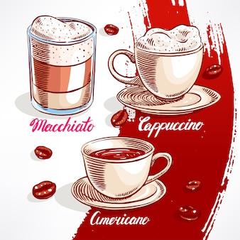 Conjunto com diferentes tipos de café. ilustração desenhada à mão