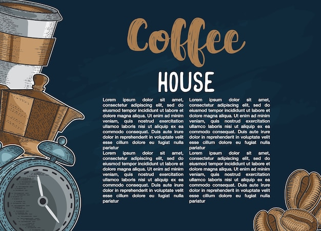 Conjunto com diferentes tipos de café. mão ilustrações desenhadas