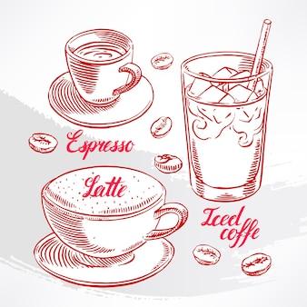Conjunto com diferentes tipos de café