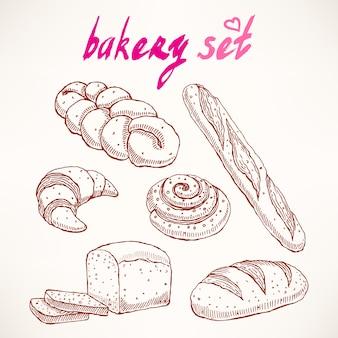 Conjunto com diferentes tipos de deliciosos bolos de esboço