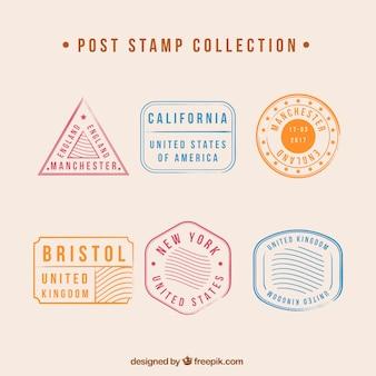 Conjunto com diferentes tipos de selos postais
