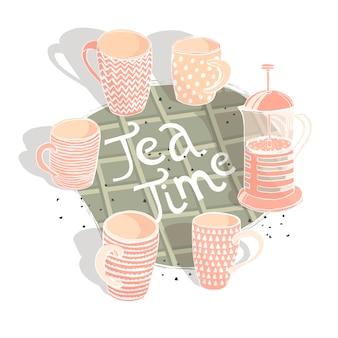 Conjunto com diferentes xícaras e bule cite a ilustração vetorial de hora do chá