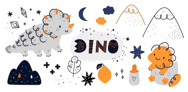 Conjunto com dinossauro fofo mãe e bebê com mão desenhada doodle elementos