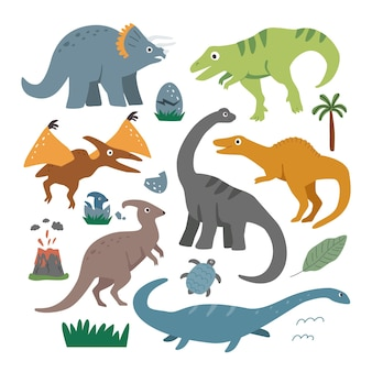 Conjunto com dinossauros bonitos dos desenhos animados e elementos decorativos em um fundo branco.