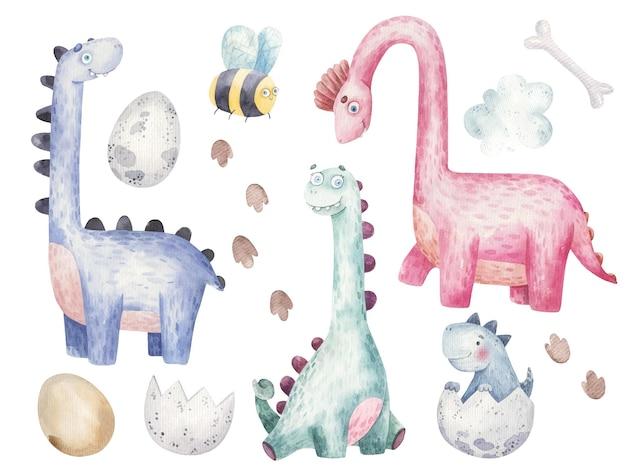 Conjunto com dinossauros com pescoços longos, ilustração bonita em aquarela para crianças
