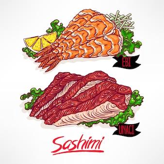 Conjunto com dois tipos de sashimi. camarão e enguia