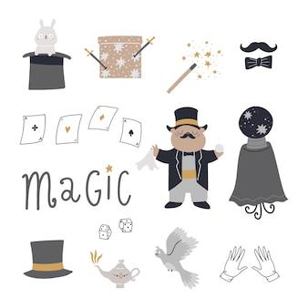 Conjunto com elementos de personagens fofinhos para truques chapéu coelho varinha mágica caixa mágica cartões de pomba ilustração infantil