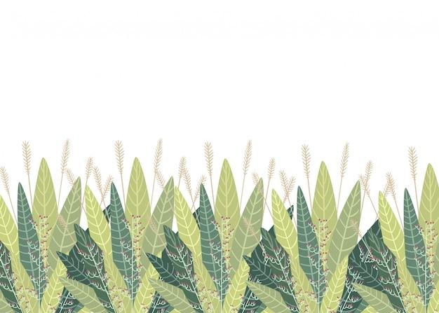 Conjunto com elementos florais e folhas. elementos decorativos para suas folhas redemoinhos ilustração estilo floral