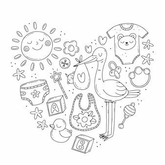 Conjunto com elementos sobre o tema do nascimento de uma criança em estilo doodle em forma de coração