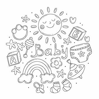 Conjunto com elementos sobre o tema do nascimento de uma criança em estilo doodle na forma de um círculo