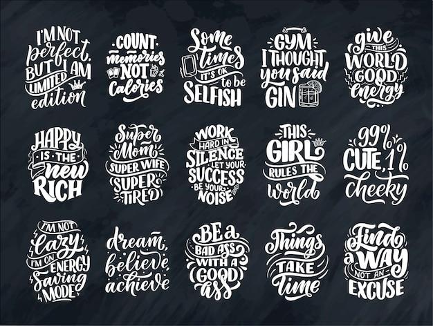 Conjunto com engraçado mão desenhada letras composições. frases legais para impressão e pôster. slogans feministas inspirados.