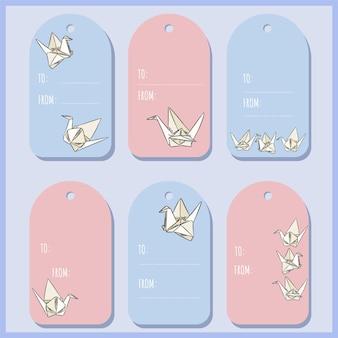 Conjunto com etiquetas de presente de cisne de papel de origami