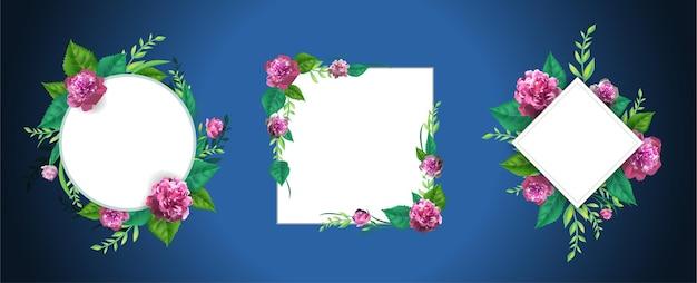 Conjunto com flores rosa modelo de rosas, quadro de lindas folhas verdes. 3d