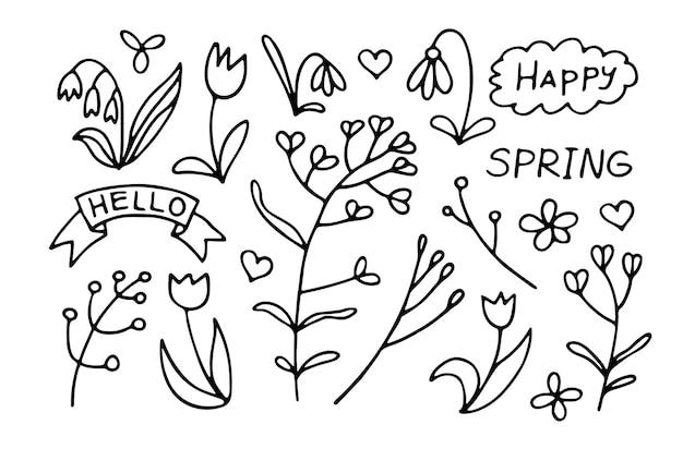Conjunto com flores silvestres fofas e inscrições de primavera. ilustração em vetor desenhada à mão em estilo doodle