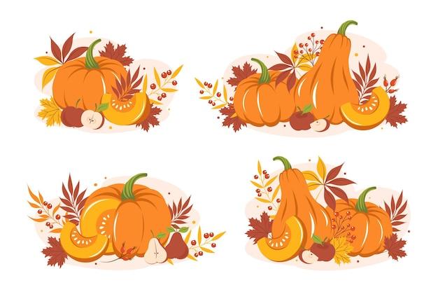 Conjunto com folhas coloridas de outono, abóbora e frutas. feliz dia de ação de graças