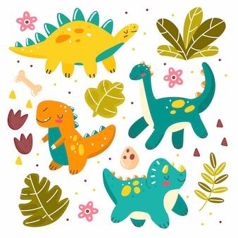 Conjunto com folhas de dinossauros fofos em estilo cartoon