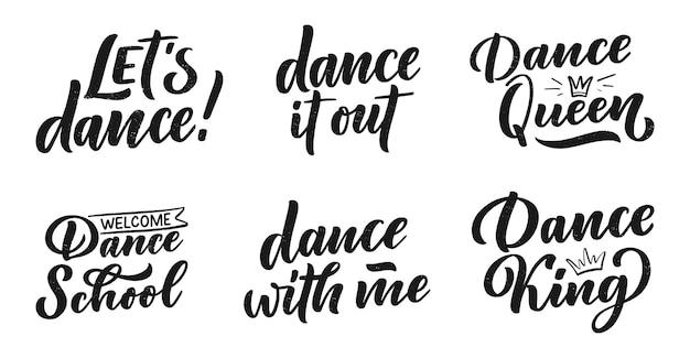 Conjunto com frases de mão desenhada. citações de letras e conceito criativo.