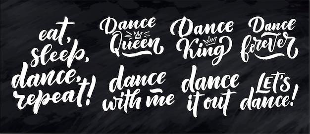 Conjunto com frases desenhadas à mão sobre dança para impressão