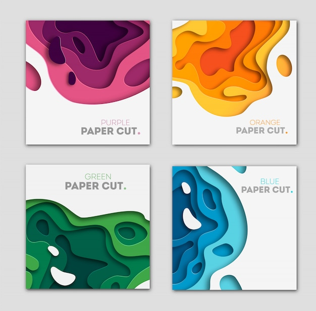 Conjunto com fundo abstrato 3d e formas de corte de papel
