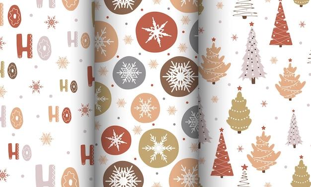 Conjunto com fundos de ano novo. padrão sem emenda com flocos de neve e árvore de natal.