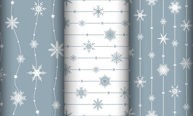 Conjunto com fundos de natal. padrão sem emenda com flocos de neve.