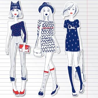 Conjunto com garotas vector fofo. garota de estilo de desenho no caderno papel.