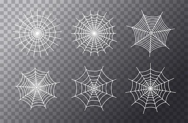 Conjunto com ícones de teia de aranha. decoração de halloween com teia de aranha. vetor plano de teia de aranha