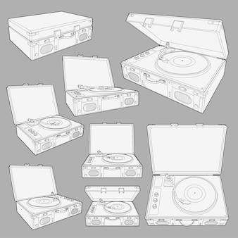 Conjunto com ilustração de disco de vinil toca-discos