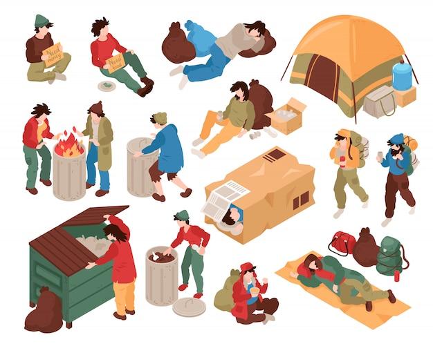 Conjunto com imagens isoladas de personagens humanos de pessoas sem-teto e vários objetos relacionados