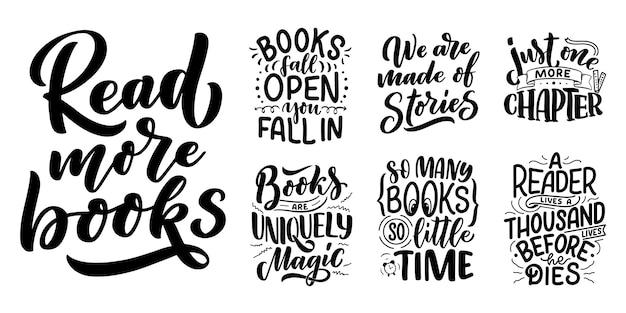Conjunto com letras abstratas sobre livros e leitura. cartas manuscritas. citações engraçadas de tipografia.