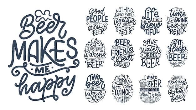 Conjunto com letras citações sobre cerveja em estilo vintage.