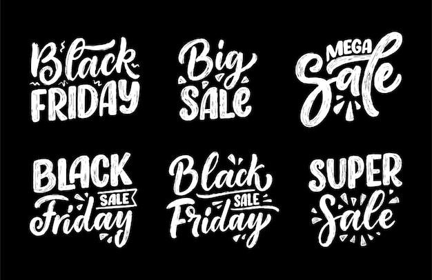 Conjunto com letras de black friday em estilo de caligrafia moderna.