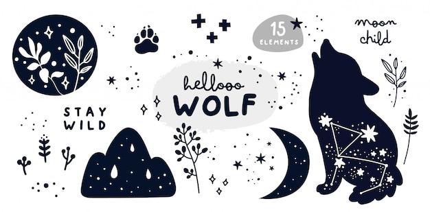 Conjunto com lobo, estrelas, lua, ervas e letras. fique coleção de criança de lua selvagem