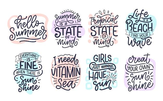 Conjunto com mão desenhada letras composições sobre o verão. slogans engraçados da temporada.