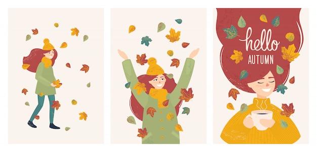 Conjunto com menina em folhas de outono