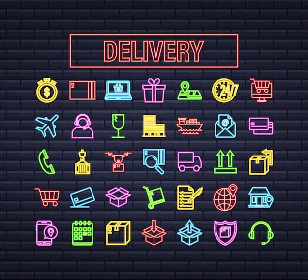 Conjunto com o ícone de néon de entrega. serviço de entrega. correio rápido. conjunto de ícones de caminhão. ilustração em vetor das ações.