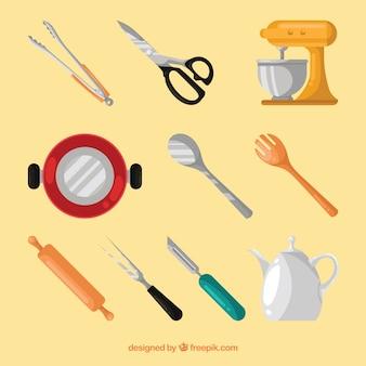 Conjunto com objetos de cozinha plana