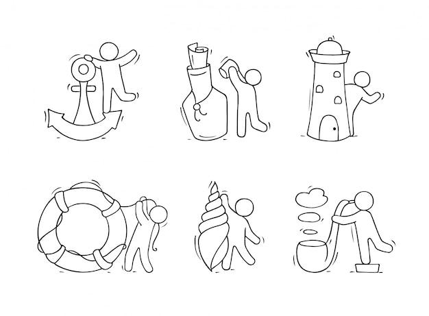 Conjunto com objetos do mar e pessoas