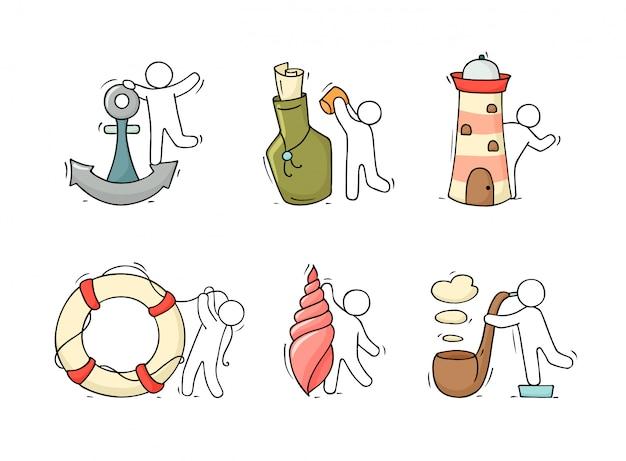 Conjunto com objetos e pessoas do mar