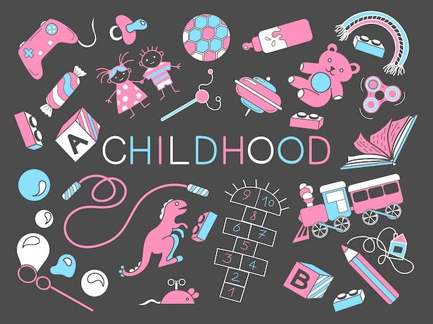 Conjunto com objetos sobre a infância ilustração vetorial vida infantil
