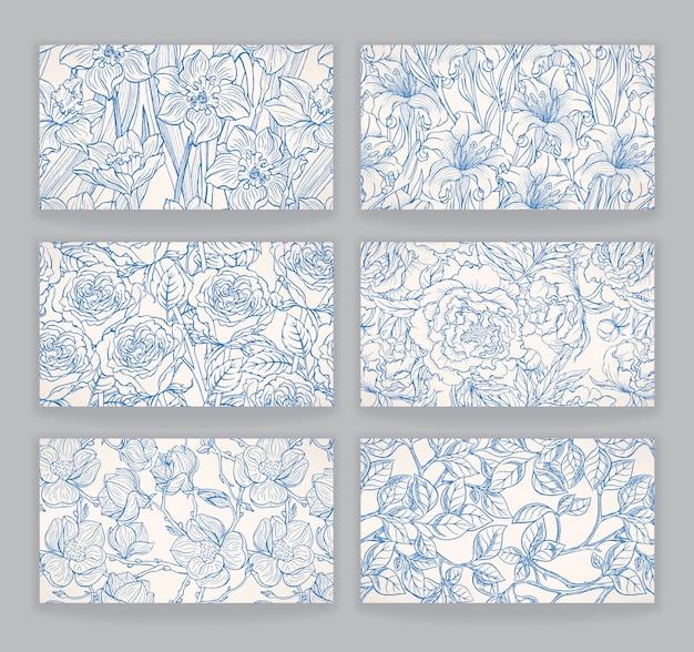 Conjunto com os cartões com belos padrões florais azuis