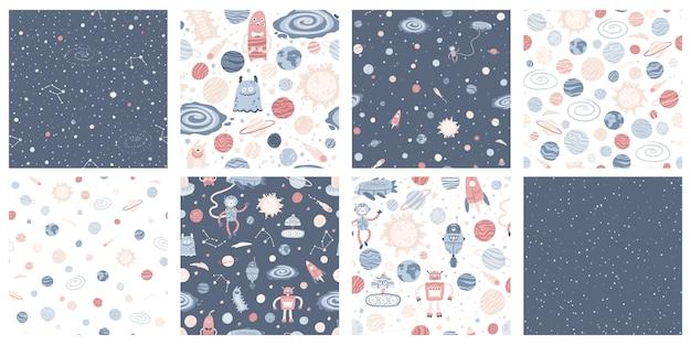 Conjunto com padrão sem emenda de espaço com nave alienígena, foguete, astronauta e robôs com planetas coloridos e estrelas. ilustração infantil desenhada à mão em estilo escandinavo simples