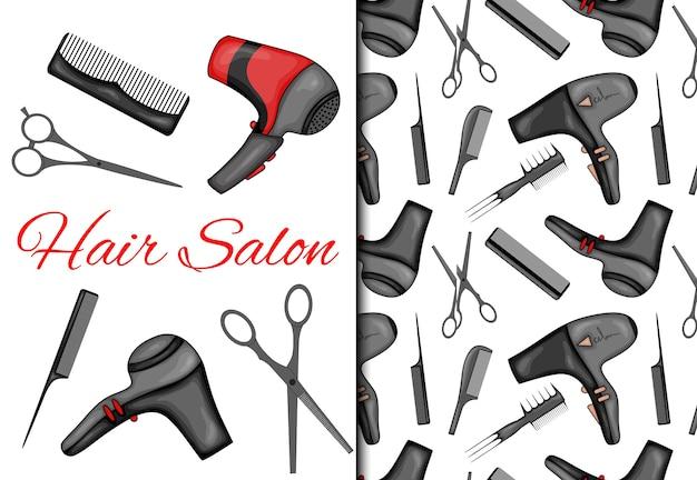 Conjunto com padrão sem emenda e itens para salão de cabeleireiro.
