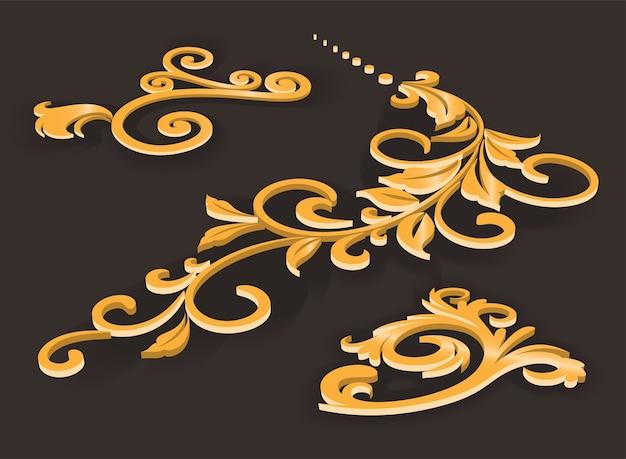 Conjunto com padrões de ouro extrudados em relevo. ornamento de filigrana em luxuoso design de ouro. padrões geométricos elegantes com efeito em relevo 3d, desenho vetorial.