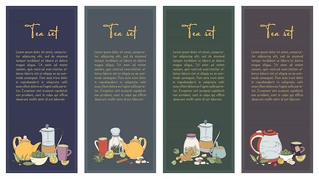 Conjunto com panfleto de chá. coleção de banner vertical para o design da loja. mão ilustrações desenhadas.